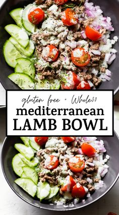 Healthy MEDITERRANEAN LAMB BOWLS made with cauliflower rice, lamb and vegetables and drizzled with the easiest homemade tzatziki sauce! #lamb #tzatziki #glutenfree #paleo Best Gluten Free Recipes, Whole 30 Recipes, Paleo Recipes, Healthy Dinner Recipes, Cooking Recipes, Lamb Recipes, Healthy Meals, Homemade Tzatziki Sauce, Mediterranean Recipes
