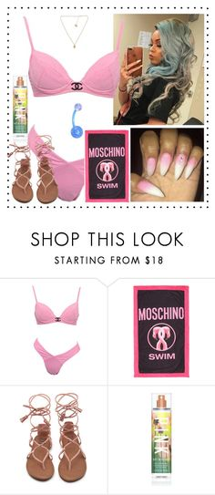 """Pool Party at Hotel with fam & friends"" by princesscece ❤ liked on Polyvore featuring Moschino and Victoria's Secret"