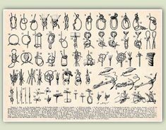 Marine Knots Print, LARGE SIZE 11x14, Sailor knots, Seaside Prints, Marine Wall Decor, Nautical art