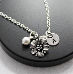 Pearl Flower Necklace - Personalized - Pearl - Personalized Initial Letter - Choose Your Chain Length- Fast Shipping
