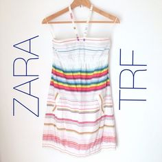 """Final Sale! ZARA TRF Stripe Cotton Dress Cute surfer girl like dress with unique halter neck strap, adjustable to two button lengths, empire waist, pockets, subtle gathered hem with elastic. Size M, fits size 6, max 34B or 36B bust. Max 38"""" hip. length: approx. 34""""/35"""" Worn and washed twice, fabric has a distressed/washed look to it, no stains or tears. Zara Dresses"""