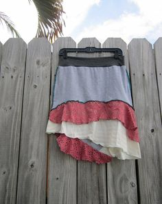 originally 42.95    Heather grey skirt with mauve eyelet lace    I repurposed a heather grey cotton into a comfortable skirt  I added a new off white