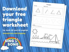 Triangle shape worksheet UK and US versions