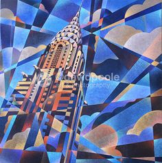 chrysler building art deco painting - i would love this print for my wall
