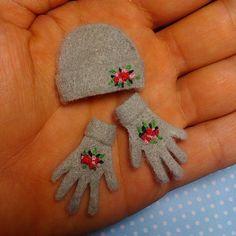 liliminidreamfactory: #miniature #gloves #hat #minyatür #eldiven #flowers #love #sweet #cute #beautiful