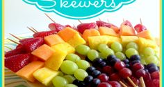 """Rainbow Fruit Skewers *Get more RECIPES from Raining Hot Coupons here* PIN it by clicking the """"PIN IT"""" button on any of the images! Rainbow Fruit Skewers are full of nutrients, look gor… Skewer Recipes, Fruit Recipes, Appetizer Recipes, Cooking Recipes, Skewer Appetizers, Grilling Recipes, Easy Recipes, Rainbow Fruit Skewers, Fruit Kabobs Kids"""