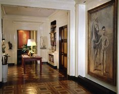 Paley apartment at 820 Fifth.  Central Gallery designed by Stephane Boudin.  The large painting on the right is Jeune garçon au cheval (Boy Leading a Horse) an early painting by Pablo Picasso. An example of Picasso's Rose Period, he painted it in 1906 in Paris.  It was donated by Paley to the MoMA.