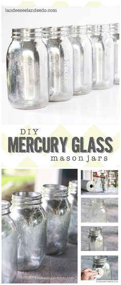Mercury Glass DIY Mercury Glass Mason Jars Tutorial - These can be used for SO many fun occasions and purposes!DIY Mercury Glass Mason Jars Tutorial - These can be used for SO many fun occasions and purposes! Mason Jar Projects, Mason Jar Crafts, Mason Jar Diy, Bottle Crafts, Tinted Mason Jars, Uses For Mason Jars, Do It Yourself Design, Diy Y Manualidades, Diy Hanging Shelves