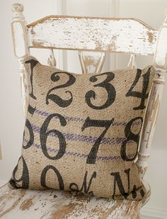 Burlap Numbers Pillow! www.laurieannas.com