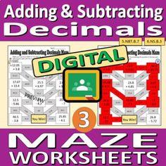 Digital Maze Worksheets - Adding and Subtracting Decimals | TpT