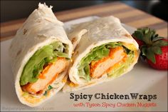 Spicy Chicken Wraps with Tyson Chicken Nuggets Spicy Chicken Wraps made with Tyson's new gourmet Spicy Chicken Nuggets Spicy Chicken Wrap, Chicken Wraps, Chicken Nuggets, Wrap Recipes, Snack Recipes, Cooking Recipes, Healthy Recipes, I Love Food, Good Food