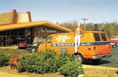 The Parkmoor (at Big Bend and Clayton Roads.) This was the original and the sole survivor of 6 Parkmoors. Reminiscent of exotic, California-style design, it had a tall peaked ceiling and a lava-stone back wall. All the orange leatherette seating was built-in. The L-shaped counter had cantilevered seats that projected up diagonally from the base. Down the center of the room was a 3-foot-high divider with plants on top. On either side of the divider were rows of two-person mini-booths.