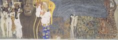 1902, Wiener Secession, Gustave Klimt - The Beethoven Frieze: The Hostile Powers. Far Wall