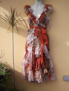 "RESERVED vintage inspired shabby bohemian gypsy dress in autumn hues...small to 36"" bust.."