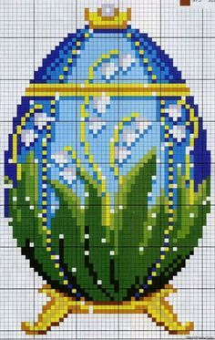 Cross stitch Faberge egg with lily of the valley details