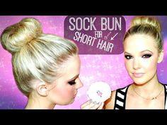 SOCK BUN FOR SHORT TO MEDIUM HAIR. Mallory's Tutorial -