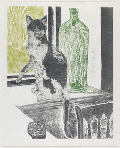 Sheila Robinson Shows the interior of 19 East Street, Saffron Walden, looking out over the Common. This is Sheila Robinson's last print (unfinished). Artwork Images, Online Art Gallery, Cat Art, Printmaking, Screen Printing, Illustration Art, Rev 1, East Street, British Artists