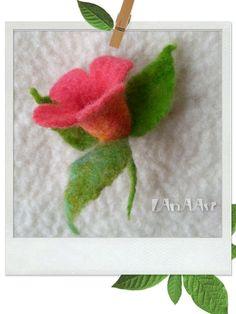 Small Pink Dipladenia Mandevilla FELT FLOWER BROOCH pin by LanAArt