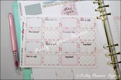 Shabby Chic 2 Halfsies Planner Stickers by PrettyPlannerPaperie