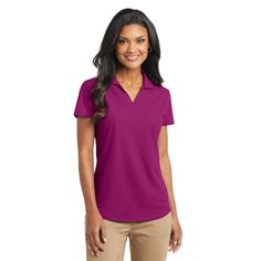 Port Authority L572 Ladies Dry Zone Grid Polo - Magenta - With a grid-like texture, this durable, smartly priced polo wicks moisture and controls odor - making it a favorite for team uniforming. | FullSource.com