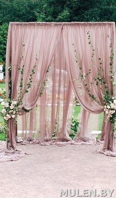 Pink curtains backdrop background #wedding #partydecor