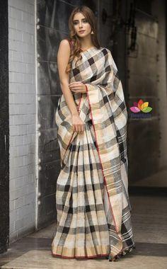 Black and White Checkered Handwoven Linen Saree-SALE-Beatitude Label Cotton Sarees Handloom, Cotton Saree Blouse, Saree Dress, Khadi Saree, Kurti, Indian Beauty Saree, Indian Sarees, Black And White Saree, Saree Sale