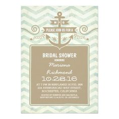 Chevron nautical anchor 5x7 bridal shower invites. Artwork designed by jinaiji.