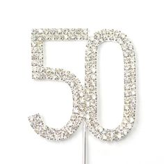 Amazon.com: Cosmos ® Rhinestone Crystal Silver Number 50 Birthday 50th Anniversary Cake Topper: Kitchen & Dining
