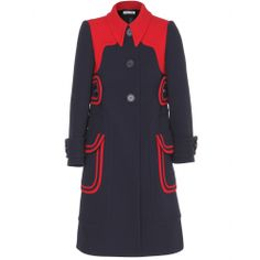 Red and dark navy colo-block wool #coat with giant buttons and oversized flap pockets that add a retro feel by Miu Miu. #colorblock