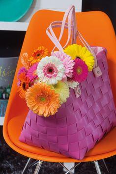 Colourful gerberas in a pink bag #yellowgerberas #orangegerberas #inspiration #colouredbygerbera #dutchgerbera