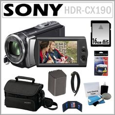 Sony HDR-CX190 HD Handycam Camcorder with 5.3MP and 25x Optical Zoom + 16GB SDHC + Sony Case + Replacement Battery Pack +... $309.95