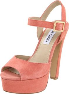 $65.90-$99.95 Steve Madden Women's Dynemite Sandal,Coral Suede,7.5 M US - The fuse to fashion is lit by the Dynemite dress pumps from Steve Madden.Suede upper in a dress shoe style with a round peep toeAdjustable buckled ankle strapSmooth lining and cushioned footbed1 1/2 inch platform midsoleSmooth traction outsole5 inch heel http://www.amazon.com/dp/B005CGFCVO/?tag=icypnt-20