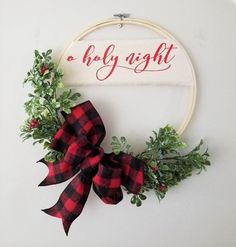 Items similar to Christmas Hoop Wreath O Holy Night 12 Modern Wall Decor Traditional on Etsy Christmas Wall Art, Christmas Wreaths To Make, Christmas Decorations For The Home, Christmas Signs, Homemade Christmas, Rustic Christmas, All Things Christmas, Christmas Holidays, Unique Christmas Ornaments