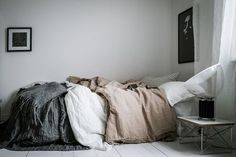A clean, natural palette, rich textural elements, and great design pieces! Small Apartment Interior, Studio Apartment, Apartment Design, Corner Furniture, Simple Bed, Home Bedroom, Bedrooms, Bedroom Ideas, Bedroom Interiors