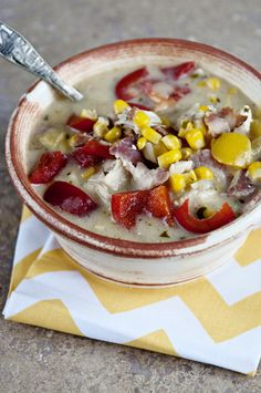 Creamy Chicken & Corn Chowder: A great way to re-serve fried chicken (which I never seem to reheat without turning it into rubber). I skinned and chopped up two thighs and it was delicious!!!