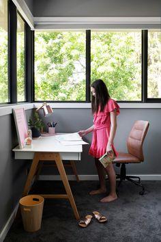 Study nook in girl's modern grey bedroom. Modern Grey Bedroom, Globe West, Walk In Robe, Family Of Five, Study Nook, Storey Homes, Home Office Design, New Builds, Concrete Floors