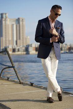 Navy blazer, light colored pants, pink shirt, summer, smart casual