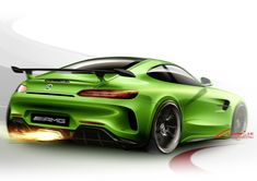 dubbed the 'green hell' for its exclusive color, the mercedesAMG GT R has a wider front and rear wing that allows an increased track width for optimum grip and even higher cornering speeds. Car Design Sketch, Car Sketch, Mercedes Benz Amg, Mercedes World, Automotive Design, Auto Design, Motorcycle Design, Transportation Design, Art Cars