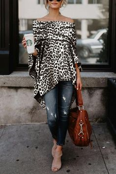 Off Shoulder Leopard Printed Asymmetric T-Shirts – ebuytide t shirt outfit t shirts outfit summer t shirts outfit casual t shirts outfit dressy t shirts outfit jeans and Mode Outfits, Fall Outfits, Fashion Outfits, Womens Fashion, Fashion Tips, Fashion Trends, Ladies Fashion, Look Fashion, Autumn Fashion