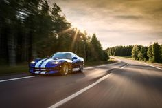 The Dodge Viper VX was unveiled at the 2012 New York Motor Show by the American car company Chrysler. Viper Car, Dodge Viper, Automotive Photography, Car Photography, Blue Wallpapers, Hd Wallpaper, My Dream Car, Dream Cars, Full Hd Pictures