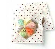 5 pochettes sachets sac cellophane coeur blanc rouge : Emballages, paquets cadeaux par meli-melow