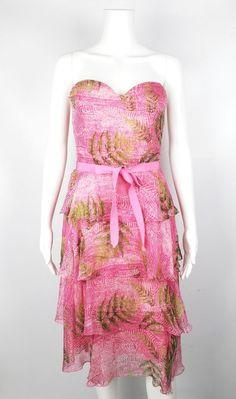 Oscar de la Renta Pink & Green Silk Chiffon Tiered Ruffle Strapless Dress Size 4 #OscardelaRenta #Tiered #Cocktail