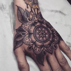 Hand Mandala tattoo by Alex M Krofchak at The Tattooed Arms, Lincoln, UK. Blackwork.