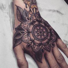 Hand Mandala tattoo by Alex M Krofchak at The Tattooed Arms, Lincoln, UK. Blackwork.