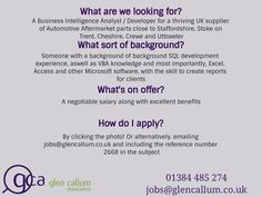 Looking for Automotive jobs and Engineering positions within the UK or Europe? Or are you an employer searching for talented automotive, engineering or industrial staff? With over 120 years of industry knowledge, spanned across our team, Glen Callum Associates is the recruitment agency of trust. #autojobs #automotivejobs #ukjobs #automotiveaftermarket #automotivejobs #jobvacancy #carjobs #automotiveaftermarketjobs #glencallumassociates #itjobs #developerjobs #job