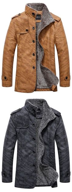 Stand Collar Single Breasted Epaulet Design Coat For Men Casual Fit Type: Regular Collar: Stand Collar Shirt Length: Regular Sleeve Length: Long Sleeves Winter Outfits, Cool Outfits, Jean Outfits, Stand Collar Shirt, Revival Clothing, Boating Outfit, Jacket Style, Men's Jacket, Swagg