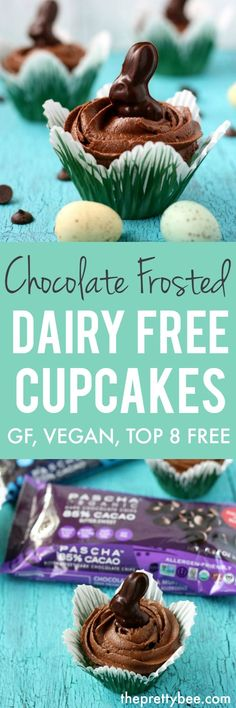 These chocolate frosted dairy free cupcakes are the perfect treat to make for a special occasion! These chocolate frosted dairy free cupcakes are the perfect treat to make for a special occasion! Gluten Free Deserts, Healthy Vegan Desserts, Vegan Dessert Recipes, Vegan Treats, Cupcake Recipes, Vegan Food, Paleo, Dairy Free Cupcakes, Vegan Cupcakes