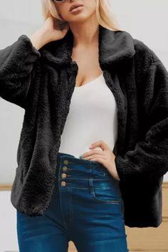 Winter autumn coats women fashion Women's Casual Lapel faux fur coat tops jacket for women jacket coats outwear female coat - #coatsforwomen #coatsforwomenwinter #coatsforwomencasual #coatsforwomenclassy #coatsforwomenclassyelegant #coatsjackets #coatsjacketswomen #coatsforwomen2020 #coatsforwomen2020fashiontrends #streettide Coats For Women, Jackets For Women, Sleeve Styles, Womens Fashion, Fashion Trends, Black And Grey, Fur Coat, Female, Casual