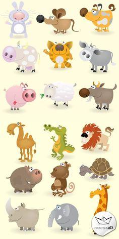 Set de vectores que representan a diferentes animales , desde un punto de vista caricaturesco e infantil . Incluyen: Jirafa, elefante, rinoc...