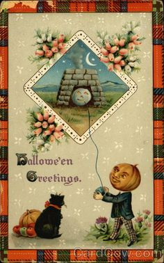 Halloween greetings children trick or treating postmarkcancel vintage halloween card for more please visit me at facebook m4hsunfo